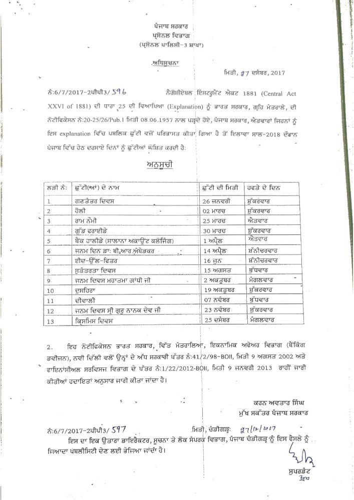 Punjab Government Holidays 2018 - Patiala News Politics